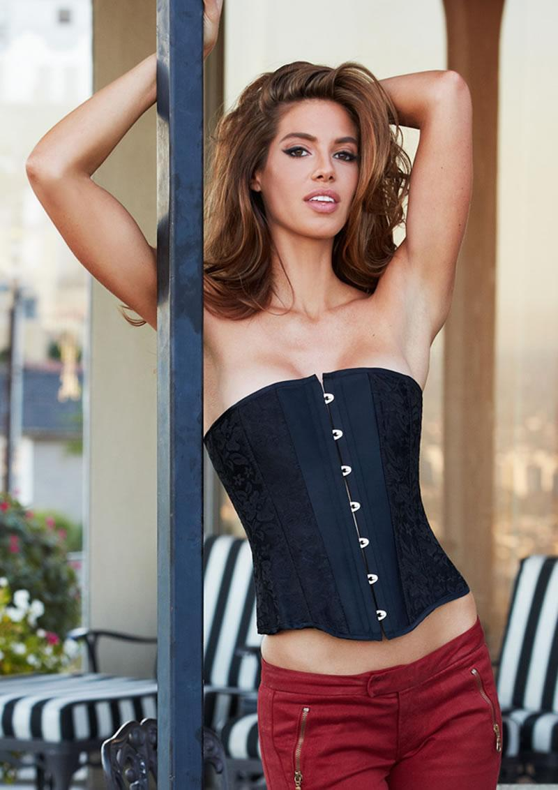 Essential Satin And Lace Corset Blk S
